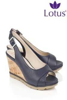 Lotus Sling Back Wedge Sandals