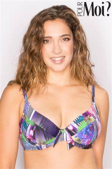 Pour Moi Tiger Lily Halter Underwired Plunge Bikini Top DD+