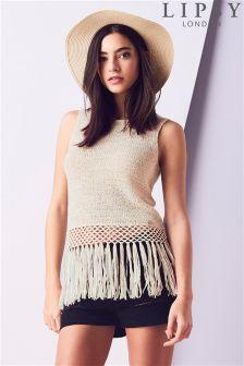 Lipsy Fringe Crochet Vest