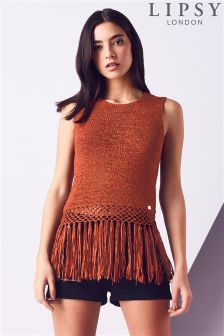 Lipsy Fringed Orange Vest