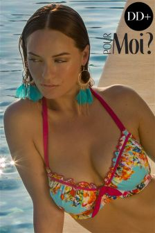 Pour Moi Print Padded Halter Underwired Bikini Top DD+