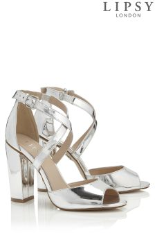 Lipsy Strappy Block Heel Metallic Sandals