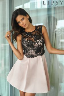Lipsy Sequin Lace Top Prom Dress