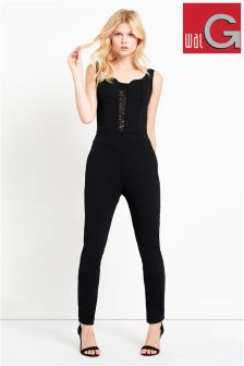 Wal G Lace Panelling Jumpsuit