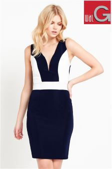 Wal G Contrast Panel Bodycon Dress
