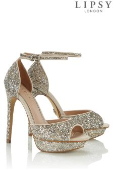 Lipsy Glitter Ankle Strap Sandals