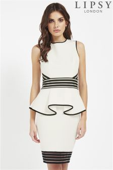 Lipsy Sheer Stripe Peplum Dress