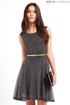 Mela Loves London Metallic Belted Dress