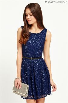 Mela Loves London Navy Sequin Dress