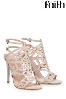 Faith Glitter Caged Sandal Heels