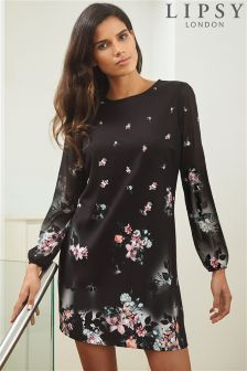 Lipsy Floral Print Long Sleeve Shift Dress
