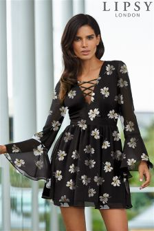 Lipsy Long Sleeve Floral Print Skater Dress