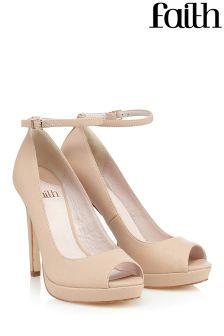 Faith Peep Toe Ankle Strap Platform Shoe