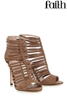 Faith Caged Khaki Heel Sandals