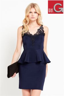 Wal G Lace V-neck Peplum Dress
