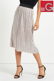 Wal G Metallic Pleated Midi Skirt