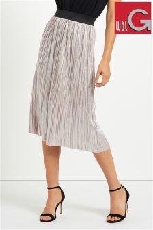 Wal G Metallic Pleated Midi Skirt