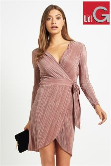 Wal G Crinkle Pleat Wrapover Dress