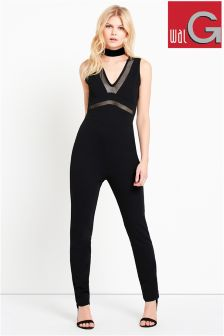 Wal G Mesh Panel Sleeveless Jumpsuit
