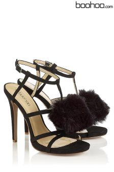 Boohoo Laura Strappy Pom Pom Stilletto