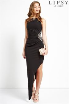 Lipsy Side Ruched Asymmetric Maxi Dress