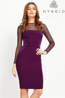 Hybrid Fashion Bengaline Satin Mesh Sleeve Bodycon Dress