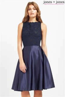 Jones & Jones Lace Bodice Midi Dress