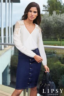 Lipsy Lace Shoulder Wrap Blouse