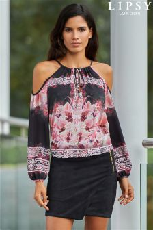 Lipsy Print Cold Shoulder Blouse