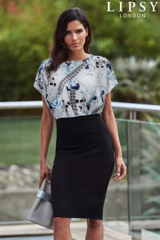 Lipsy Floral Print Sheer Top Bodycon Dress