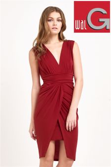 Wal G V-neck Pleated Front Dress