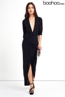Boohoo Slinky Asymmetric Maxi Dress