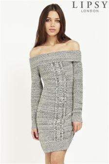 Lipsy Tweed Bardot Knitted Dress