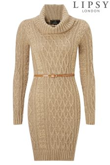 Lipsy Belted Cable Front Dress
