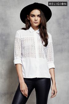 Religion Abstract Cutout Collar Shirt