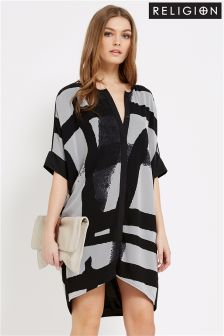 Religion Perception Contrast Shirt Dress