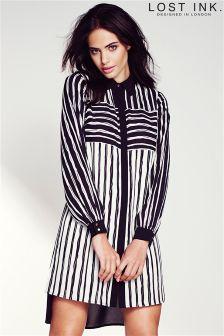 Lost Ink Striped Shirt Dress
