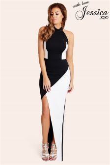 Jessica Wright Monochrome High Neck Panelled Maxi Dress