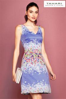 Tahari Periwinkle Floral Print Dress