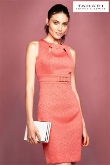 Tahari Belted Jacquard Dress