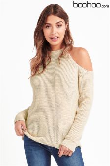 Boohoo Nude Cold Shoulder Jumper