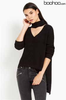 Boohoo Roll Neck Plunge V-neck Oversized Jumper