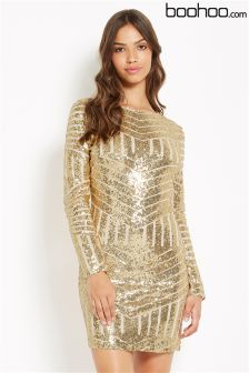 Boohoo Aztec Sequin Dress