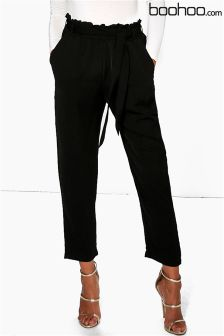 Boohoo Gathered Tie Waist Tailored Trousers