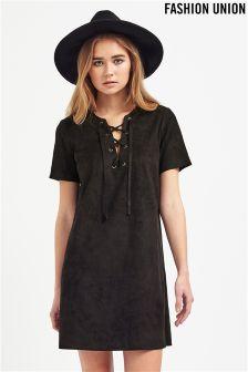 Fashion Union Lace Up Suedette Dress