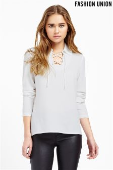 Fashion Union Tie Neck Blouse