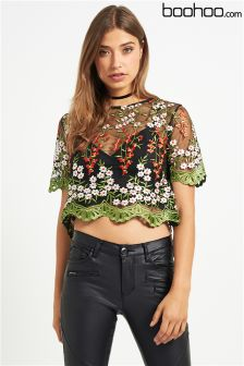Boohoo Embroidered Crop Top
