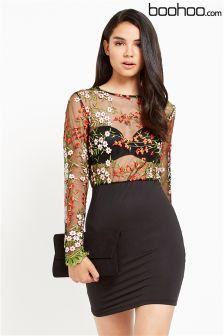 Boohoo Boutique Embroidered Midi Bodycon Dress