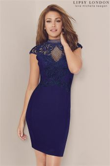 Lipsy Love Michelle Keegan High Neck Applique Bodycon Dress