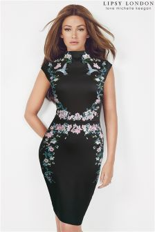 Lipsy Love Michelle Keegan High Neck Floral Embroidered Bodycon Dress